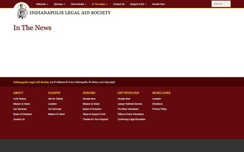Screenshot of Press Page indylas.org - In The News | Indianapolis Legal Aid Society - captured Oct. 15, 2017