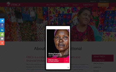 Screenshot of About Page finca.org - About FINCA International - captured Nov. 27, 2018