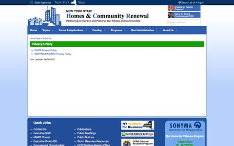 Screenshot of Privacy Page nyshcr.org - Privacy Policy - captured Sept. 25, 2014
