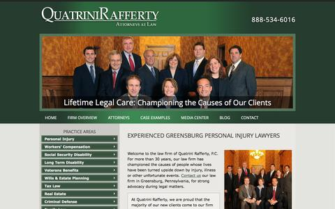 Screenshot of Home Page qrglaw.com - Greensburg PA Personal Injury Attorney | Pittsburgh Workers Compensation Lawyer | Monroeville Pennsylvania Social Security Disability Attorney - captured Jan. 22, 2016