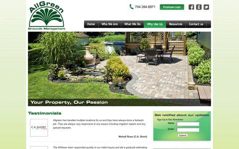 Screenshot of Testimonials Page allgreen-irrigation.com - Testimonials - captured Oct. 4, 2014