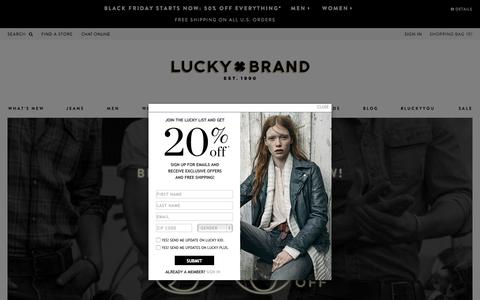 Screenshot of Home Page luckybrand.com - Luckybrand.com - Pre-black Friday - 50% Off Sitewide - captured Nov. 24, 2015