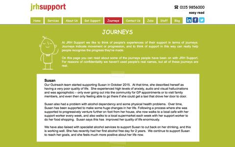 Screenshot of Testimonials Page jrhsupport.co.uk - JRH Support - Journeys - captured May 27, 2017