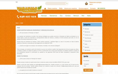 Screenshot of FAQ Page naranjasconsabor.com - FAQS - captured Oct. 1, 2014
