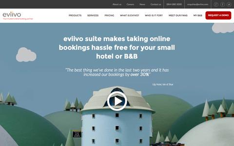Screenshot of Home Page eviivo.com - Apps to help you manage your online bookings   eviivo - captured Oct. 1, 2015