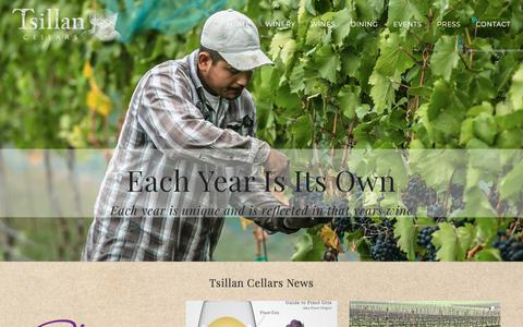 Screenshot of Press Page tsillancellars.com - News – Tsillan Cellars - captured July 6, 2018