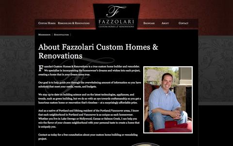 Screenshot of About Page fazzhomes.com - About Fazzolari Custom Homes & Renovations | Fazzolari - captured Oct. 5, 2014