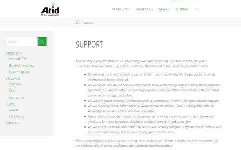 Screenshot of Support Page atid1.com - SUPPORT - All that Identification - captured Oct. 2, 2018