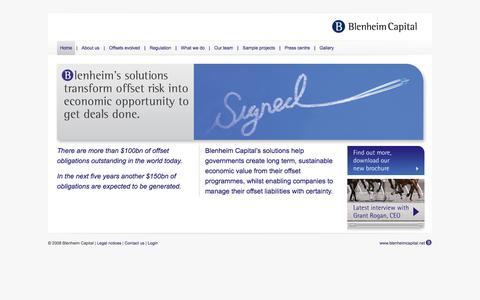 Screenshot of Home Page blenheimcapital.net - Blenheim Capital Partners - captured Oct. 5, 2014