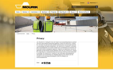 Screenshot of Privacy Page mourik.com - Privacy - captured Aug. 17, 2017