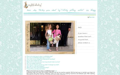 Screenshot of FAQ Page mywallaby.com - myWallaby Agile Doll Carriers for Girls - captured Oct. 6, 2014