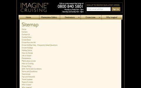 Screenshot of Site Map Page imaginecruising.co.uk - Sitemap |  Imagine Cruising - captured Sept. 30, 2014