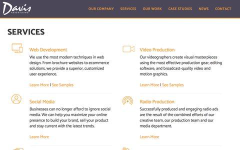 Screenshot of Services Page davisad.com - Services - Davis Advertising - captured July 17, 2019