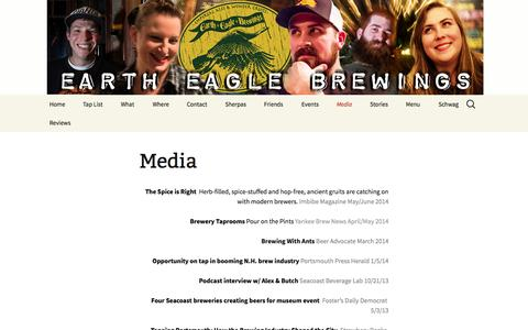 Screenshot of Press Page eartheaglebrewings.com - Media - Earth Eagle Brewings, Craft Beer, Portsmouth, NH - captured Sept. 27, 2014