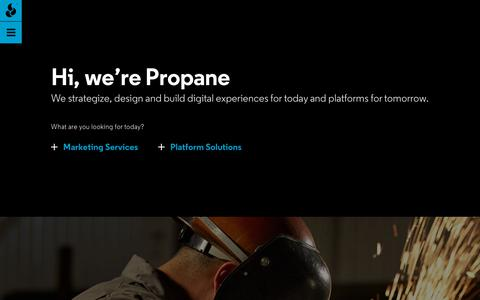 Screenshot of Home Page propane.agency - Hi, we're Propane | Propane - captured Nov. 5, 2018