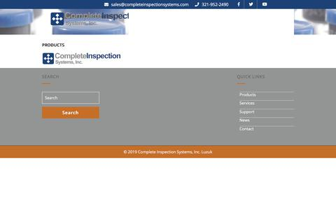 Screenshot of Products Page completeinspectionsystems.net - Products   Complete Inspection Systems, Inc. - captured Oct. 23, 2019