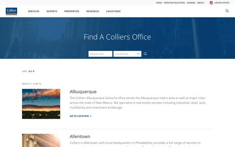 Screenshot of Locations Page colliers.com - Colliers International   Office Location - captured May 9, 2019