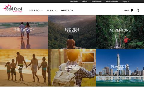 Screenshot of Home Page visitgoldcoast.com - Gold Coast, Queensland, Australia Holidays - Accommodation - Things to do - Attractions- Deals - captured Oct. 6, 2015