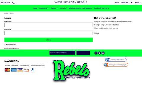 Screenshot of Login Page rebelsspirit.com - Login West Michigan Rebels - captured Oct. 24, 2018