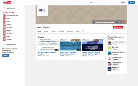 Screenshot of YouTube Page youtube.com - John Koonz  - YouTube - captured Oct. 22, 2014