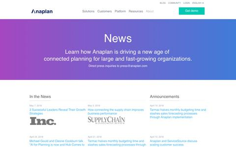 Read all the latest news from Anaplan
