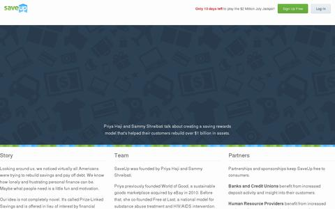 Screenshot of About Page saveup.com - Company - captured July 20, 2014