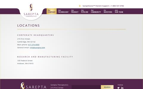 Screenshot of Locations Page sarepta.com - Locations | Sarepta Therapeutics - captured Oct. 5, 2017