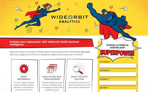 Screenshot of Landing Page wideorbit.com - Activate your superpower with WO Analytics - captured May 22, 2018