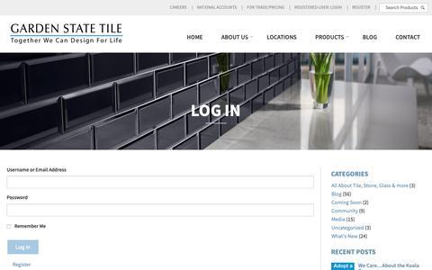 Screenshot of Login Page gstile.com - Log In | Garden State Tile - captured Sept. 27, 2018