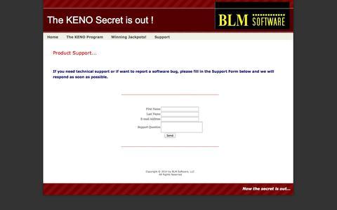 Screenshot of Support Page blmsoftware.com - KENO Winning Strategies - captured Nov. 4, 2014