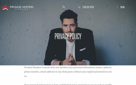 Screenshot of Privacy Page promisekeepers.ca - Privacy Policy | Promise Keepers Canada - captured Sept. 30, 2018