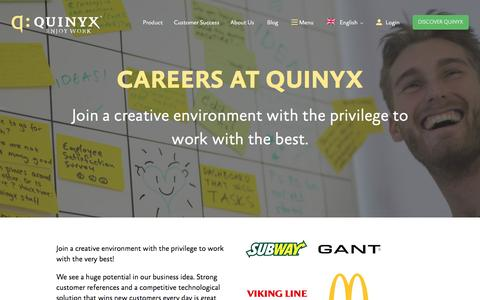 Screenshot of Jobs Page quinyx.com - Join Us | Workforce Management Careers | Quinyx - captured Nov. 16, 2016