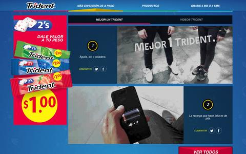 Screenshot of Home Page trident.com.mx - TRIDENT | Más diversión de a peso - captured Sept. 19, 2014