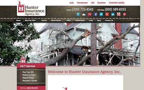 Screenshot of Home Page hunterins.com - Insurance Agency | Hunter Insurance Agency | Medina Ohio - captured Nov. 14, 2016