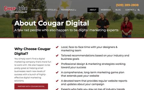Screenshot of About Page cougardigitalmarketing.com - Meet the Digital Marketing Experts at Cougar Digital | Tri-Cities, WA - captured Aug. 16, 2019