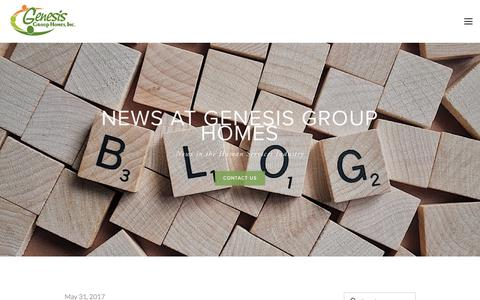 Screenshot of Blog genesis-mn.com - News in Human Services | Group Homes — Genesis Group Homes | Minnesota - development disabilities, residential homes, supportive living, autism - captured July 25, 2017