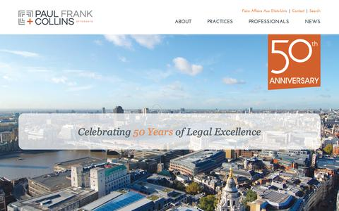 Screenshot of Home Page pfclaw.com - PF+C: Business & Litigation Law Firm in Burlington Vermont - captured Sept. 24, 2018