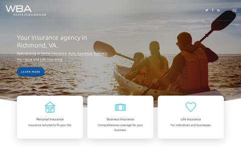 Screenshot of Home Page wba-ins.com - Richmond, Virginia Insurance - WBA Insurance - captured Oct. 18, 2018