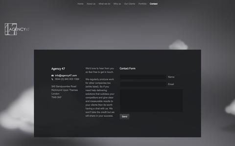 Screenshot of Contact Page agency47.com - Agency 47 - Drop us a line - captured Sept. 30, 2014
