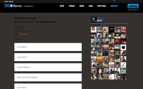 Screenshot of Contact Page 360heros.com - Contact | 360Heros | 360 Video - captured Sept. 19, 2014