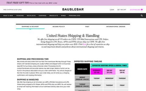 Shipping & Handling   BaubleBar