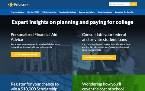 Screenshot of Home Page edvisors.com - Edvisors: Financial Aid, Student Loans and College Scholarships - captured Jan. 21, 2015