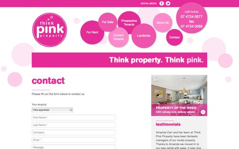Screenshot of Contact Page thinkpinkproperty.com.au - Contact «  Think Pink Property - captured Oct. 9, 2014