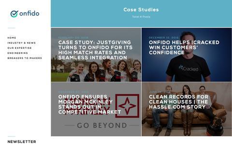 Screenshot of Case Studies Page onfido.com - Case Studies - Page 1 - Onfido's Blog - captured Feb. 25, 2016