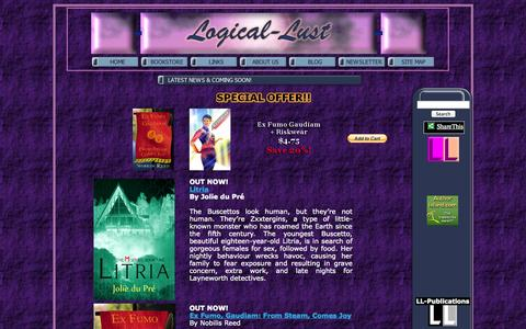 Screenshot of Home Page logical-lust.com - .: Logical-Lust Publications :.  Steamy romance and sizzling erotica! - captured Sept. 30, 2014