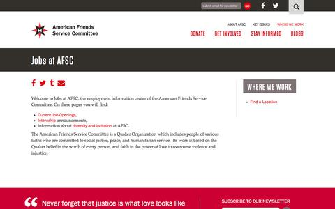 Screenshot of Jobs Page afsc.org - Jobs at AFSC | American Friends Service Committee - captured Aug. 27, 2016