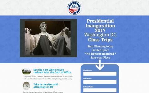 Screenshot of Landing Page goeducationaltours.com captured Aug. 15, 2016