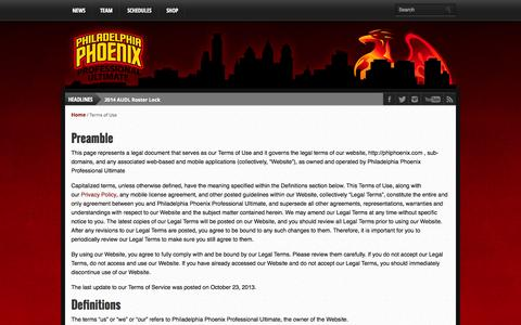 Screenshot of Terms Page phlphoenix.com - Terms of Use | Philadelphia Phoenix :: AUDL - captured Oct. 2, 2014