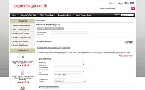 Screenshot of Login Page leapindesign.co.uk - Login : Adidas,Air Jordan,Nike,Jordan,Skechers,Biggest Discount - captured July 17, 2018