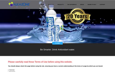 Screenshot of Terms Page alkazone.com - The pioneer of Alkaline Antioxidant Water |   Terms - captured Oct. 5, 2014